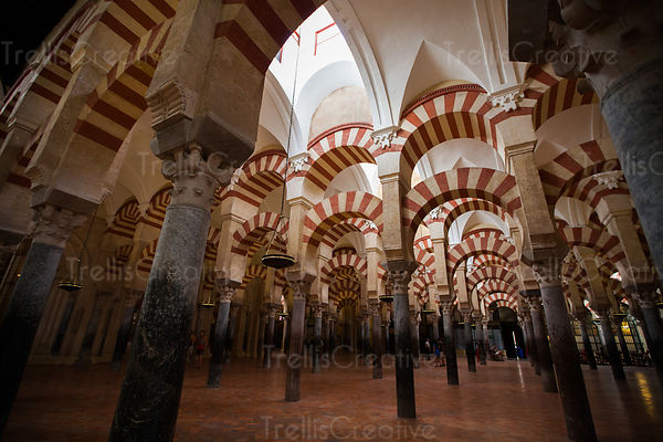 Many columns and arches of the Mosque of Cordoba, Spain