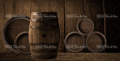 background of barrel and worn old wood background
