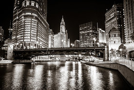 Chicago Wabash Avenue Bridge at Night Picture