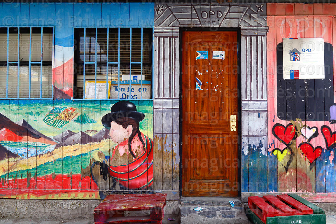 Mural on wall of regional OPD Office for Protection of Human Rights, Putre, Region XV, Chile