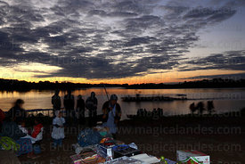 Market on shore of River Beni at sunset , Rurrenabaque , Bolivia