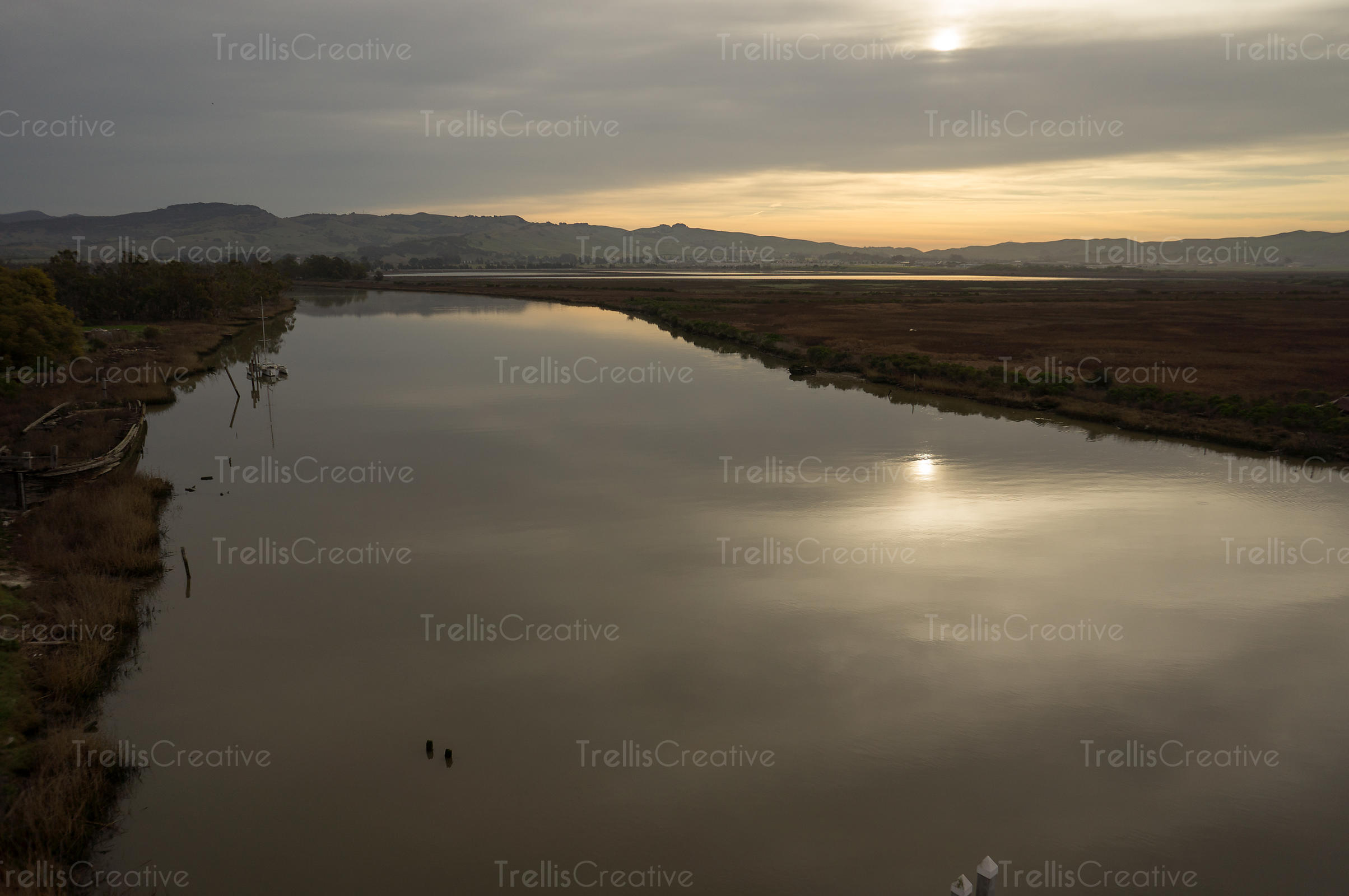 Aerial view of the Napa River and marshland