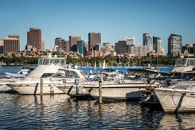 Boston Skyline with Boats Photo