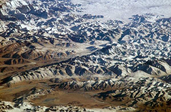 EARTH Nepal / Tibet -- ca. 2004 -- Great Himalayan Range as seen from the International Space Station