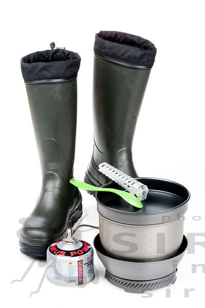 Rubber boots with Hiking equipment: stove