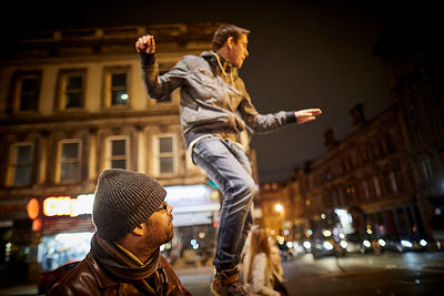 A man dancing in the street