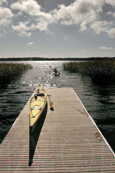 Kayak on wood pontoon
