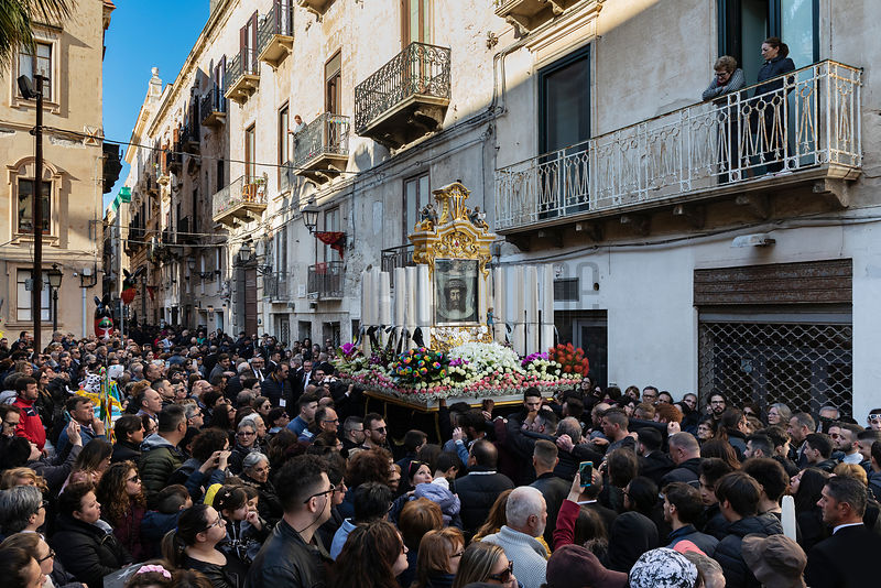 A Parade in the Streets of Trapani during the Leadup to The Processione dei Misteri di Trapani on Good Friday