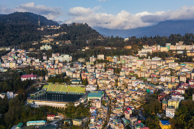 Aerial View of Gangtok the Capital of the State of Sikkim
