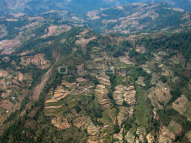 NEPAL Ramechape -- 16 Apr 2005 -- Terraced fields in the Himalayan foothills