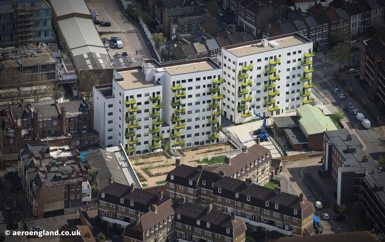 Skanska Printworks  apartments Coldharbour Lane Lambeth aerial photograph