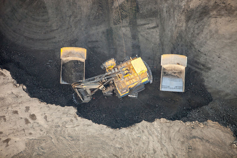 Tar sands deposits being mined north of Fort McMurray, Alberta, Canada. August 2012