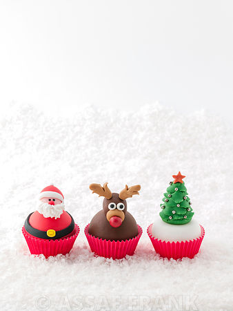 Beautifully decorated Christmas cupcakes