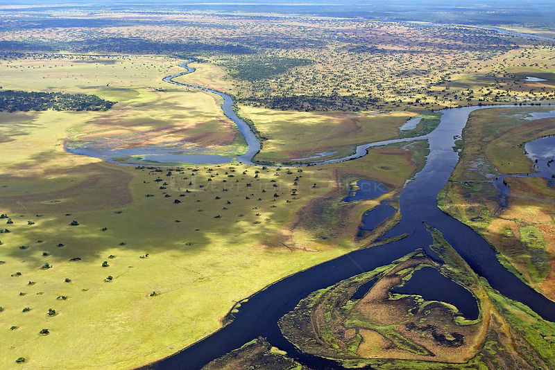 Aerial view of Bangweulu Marshes, Zambia, April 2006.