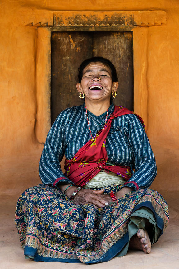 Woman from the Tamang Tribe Laughing