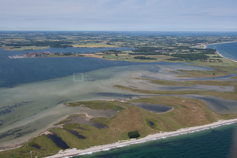 Aerial view of Oehe-Schleimuendung Nature Reserve at the mouth of river Schlei, Lotseninsel, Maasholm, Baltic Sea, Schleswig-...