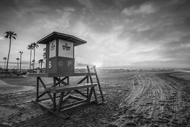 Newport Beach Lifeguard Tower B Black and White Photo