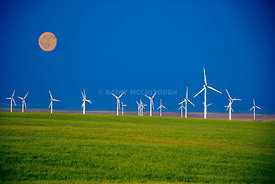 Oil painting full moon over wheat fields and wind towers