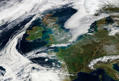 EARTH Western Europe -- 10 Apr 2015 -- This NASA MODIS satellite image from 09 Apr 2015 (latest available today as the satell...