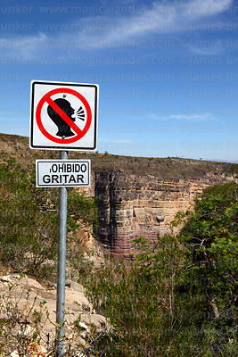 No shouting sign in Torotoro Canyon, Torotoro National Park, Bolivia