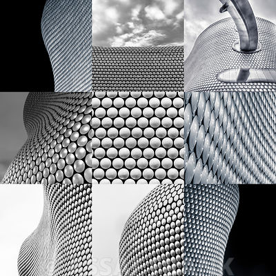 Collage of Selfridges shopping Mall, Birmingham in black and white