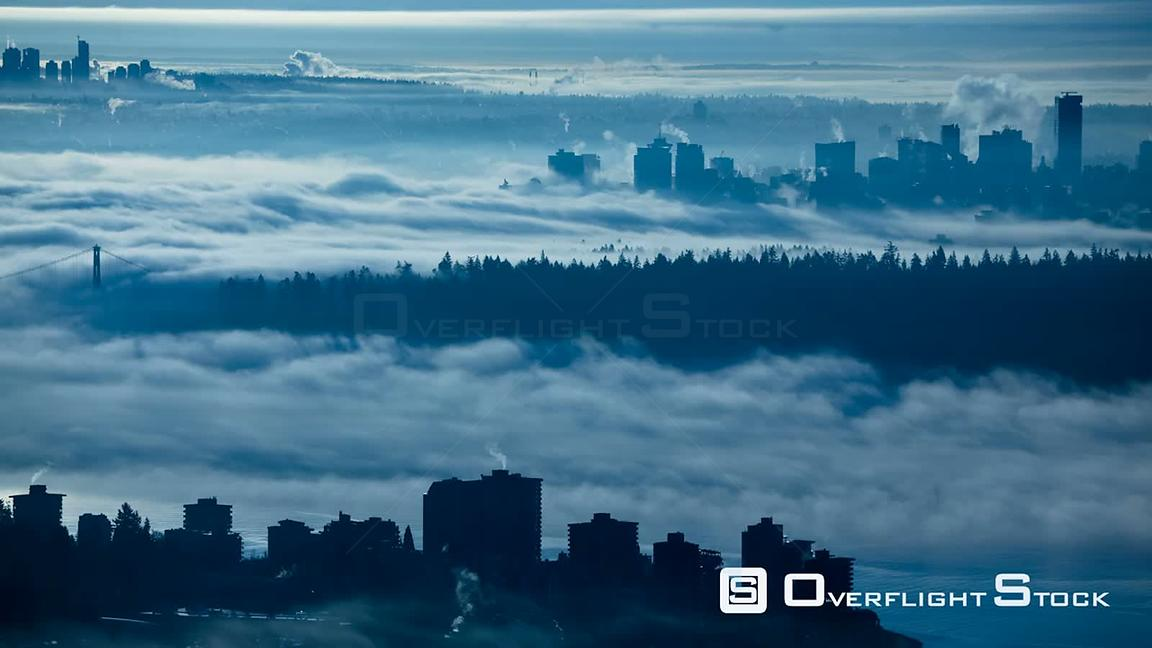Vancouver BC timelapse during a foggy morning.