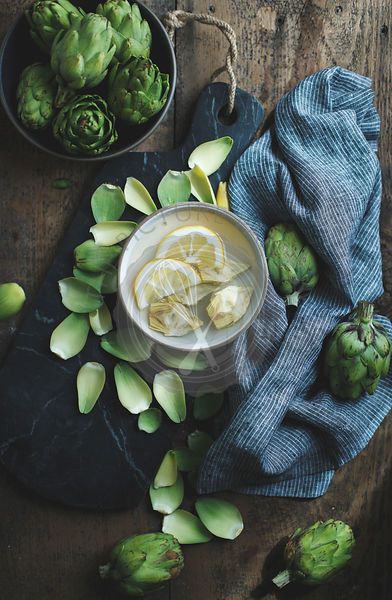 Artichokes and lemons.