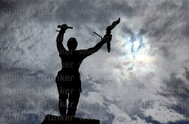 Statue of indigenous leader Túpac Katari silhouetted against sky, Ayo Ayo, La Paz Department, Bolivia