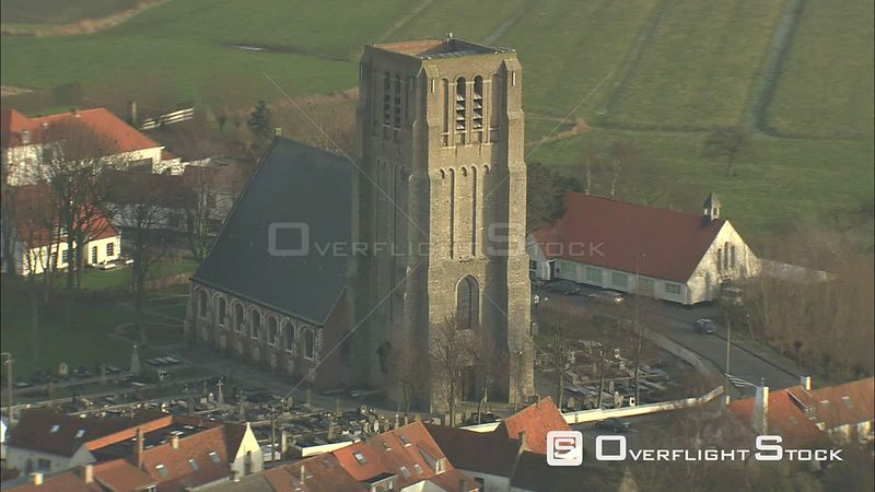 Orbiting the church at Oostkerke, Belgium