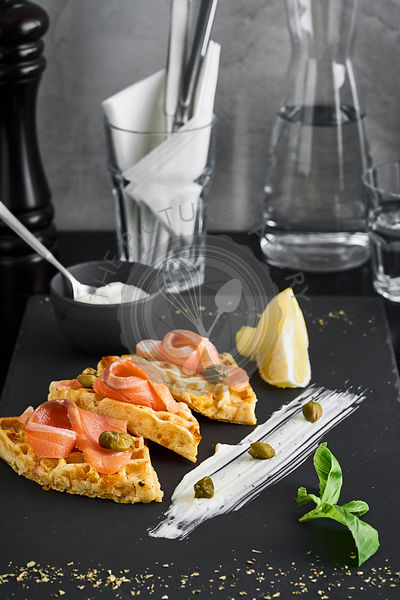waffles with salmon