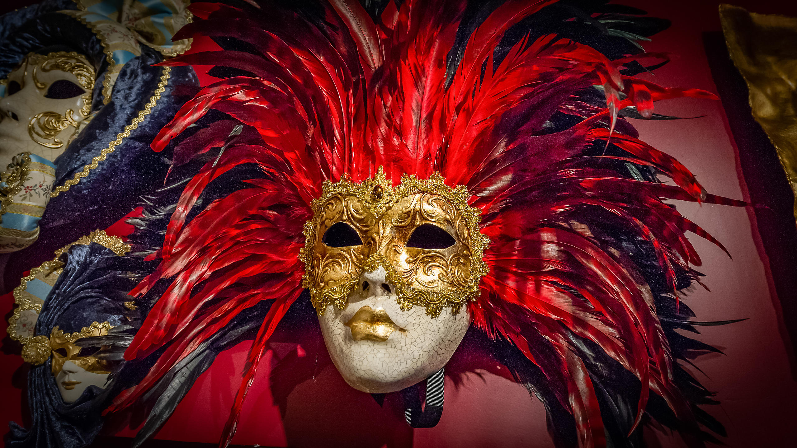 Red Feather Masque in A Venetian Shop Window