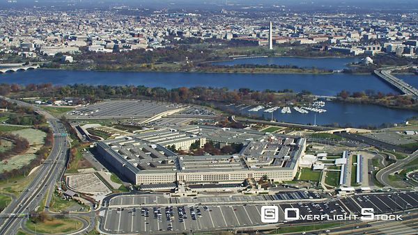 Approaching the Pentagon  Washington DC across Potomac in background.