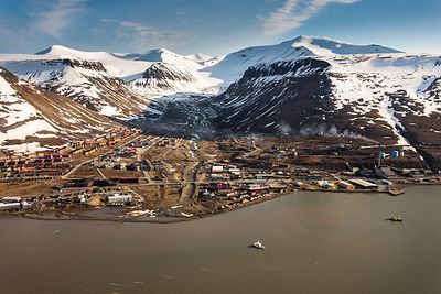 Aerial View of Longyearbyen Spitzbergen, Svalbard, Norway, June 2012.