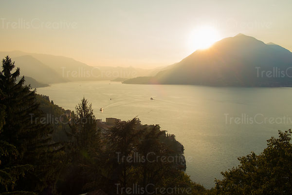 View of Lake Como (Lago di Como) from the hillside in Varenna, Italy