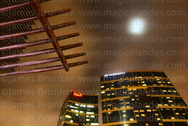 JW Marriott Hotel, moon and wooden canopy in Larcomar at night, Miraflores, Lima, Peru