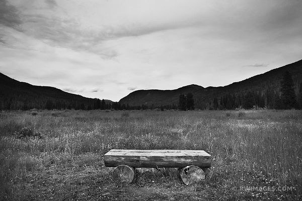 WOODEN BENCH NEVER SUMMER RANCH KAWUNEECHE VALLEY ROCKY MOUNTAIN NATIONAL PARK COLORADO BLACK AND WHITE