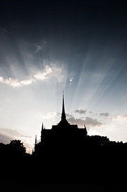 Notre Dame de Paris against the light