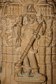 Sandstone Carving of Hindu Deity, Temple, Golden Fort, Jaisalmer, Rajasthan, India