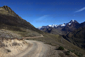 Mt Akamani (right) and dirt road , seen from near Curva on Curva to Pelechuco trek , Cordillera Apolobamba , Bolivia