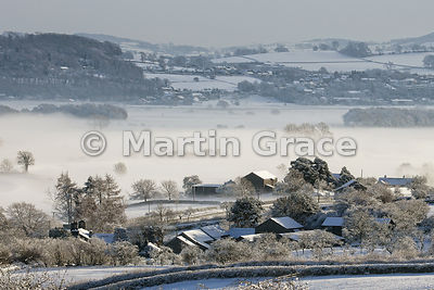 Early morning mist in a snowy Lyth Valley, December, Cumbria, England