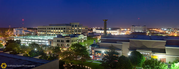 Panorama of Downtown Modesto at Night