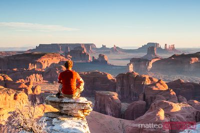 Man looking at the Monument Valley, Arizona, USA