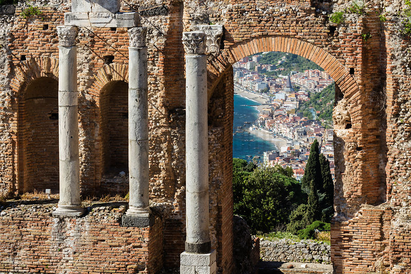 Taormina Beach front from the Ancient Greek Theatre