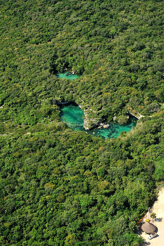Aerial view of the cenotes, freshwater holes located all over the Yucatan peninsula, Mexico