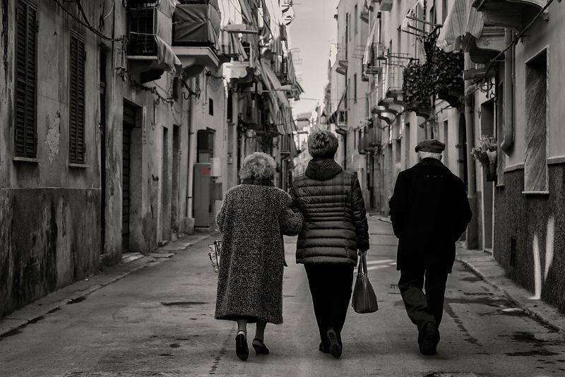 Family Walking in the Streets of Trapani
