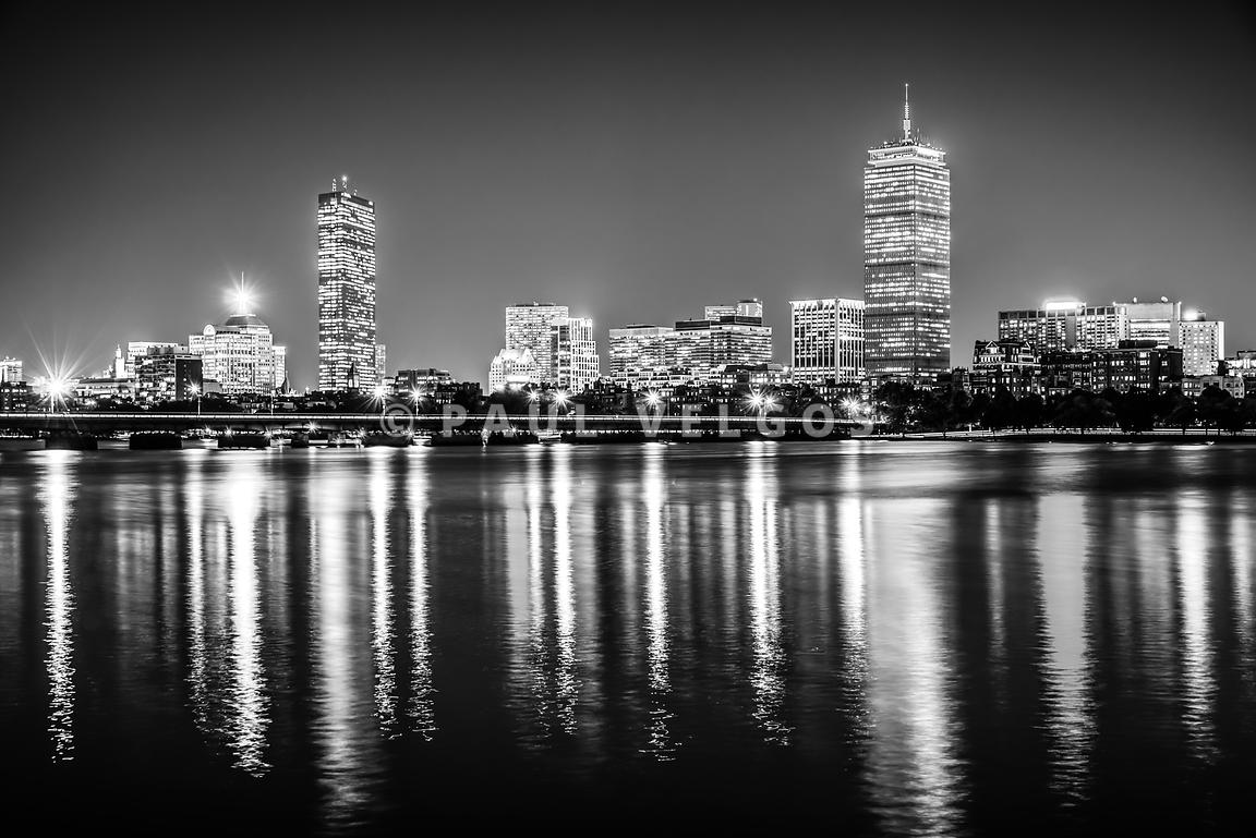 Boston Skyline at Night Black and White Picture