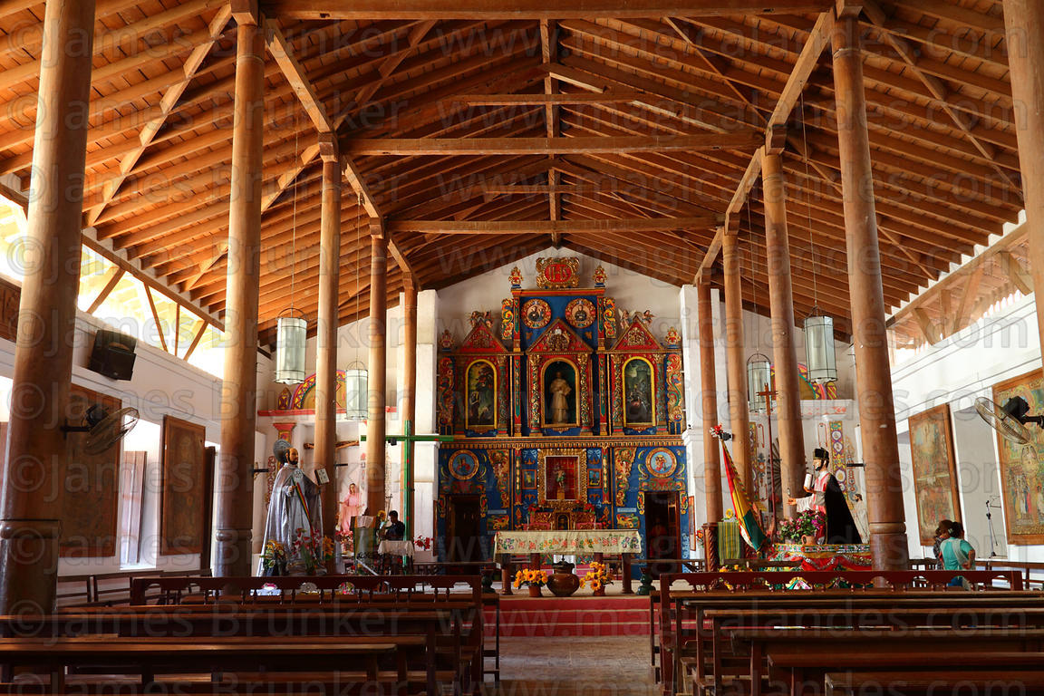 Interior of Jesuit Mission church, San Ignacio de Moxos, Beni, Bolivia
