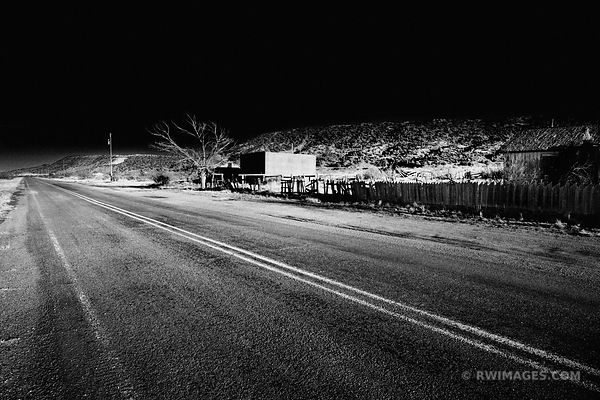 ROUTE 66 GHOST TOWN CUERVO NEW MEXICO BLACK AND WHITE