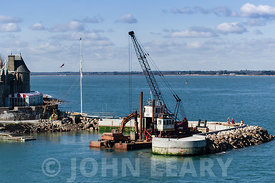 Building the Royal Yacht Squadron's breakwater and boat basin at the entrance to Cowes Harbour.
