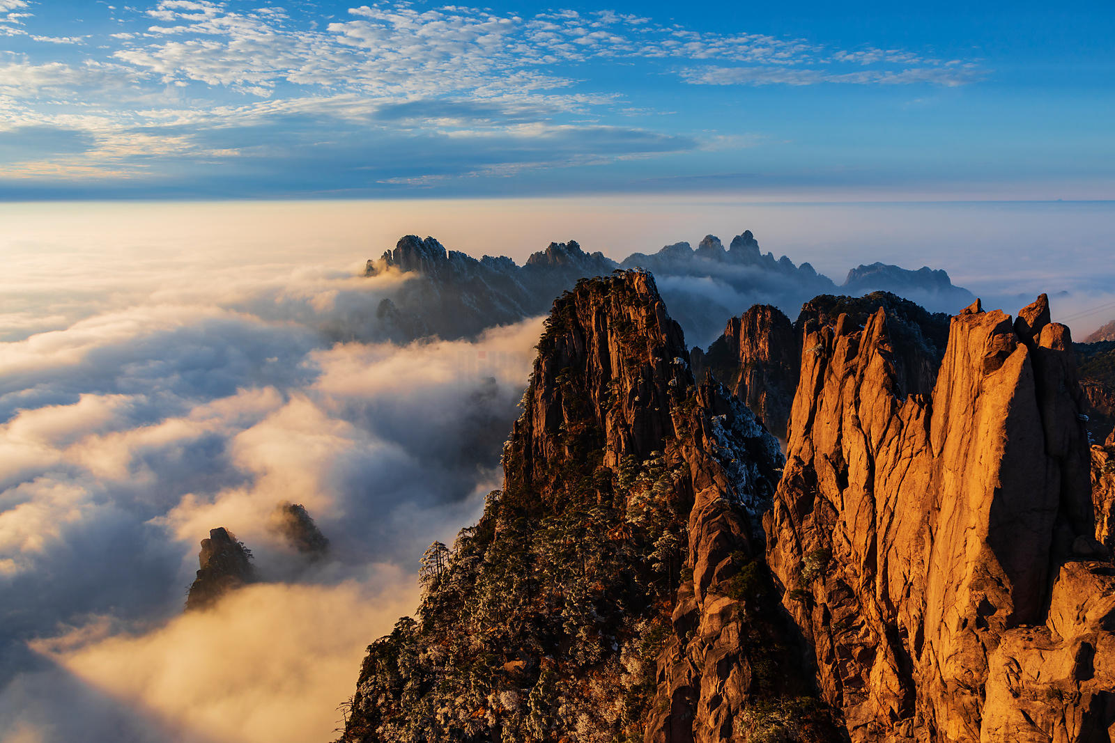 Elevated View of the Huangshan Mountains from the Circle of Peaks Viewpoint